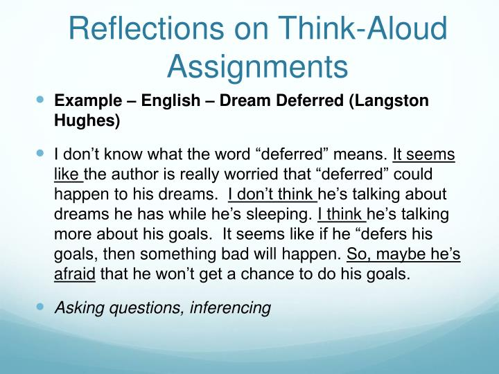 Reflections on Think-Aloud Assignments