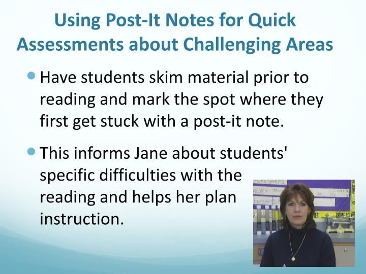 Using Post-It Notes for Quick Assessments about Challenging Areas