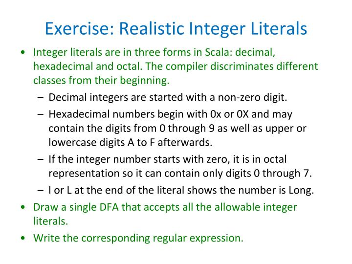 Exercise: Realistic Integer Literals