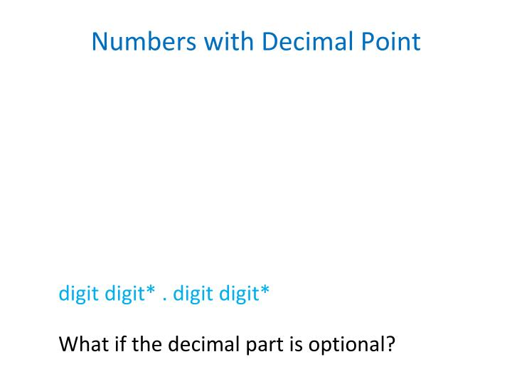 Numbers with Decimal Point