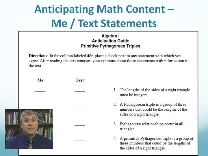 Anticipating Math Content –