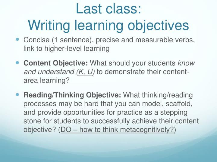 Last class: