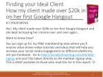 finding your ideal client how my client made over 20k in on her first google hangout