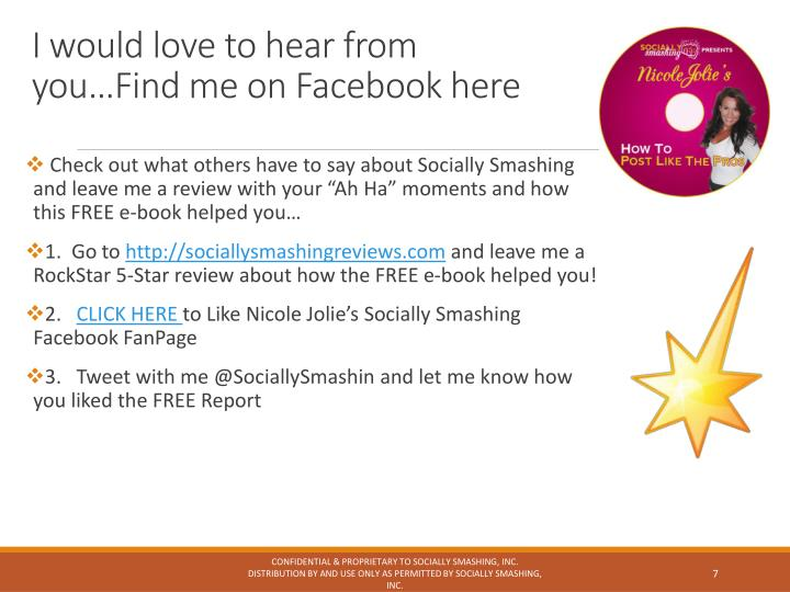I would love to hear from you…Find me on Facebook here