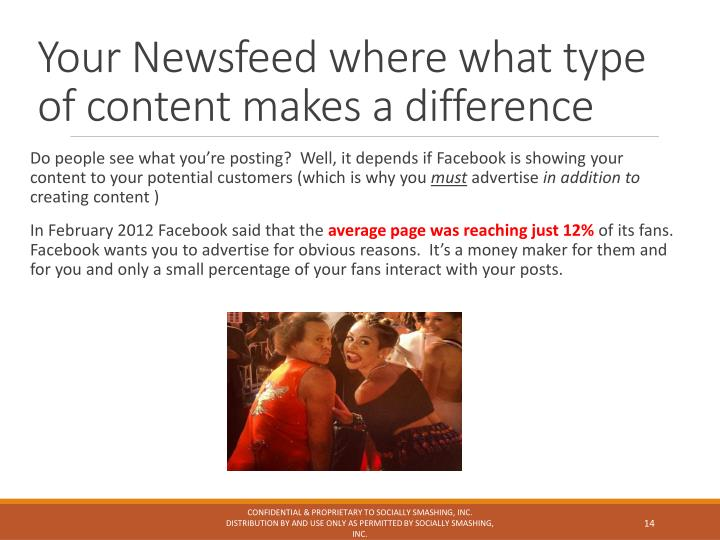 Your Newsfeed where what type of content makes a difference