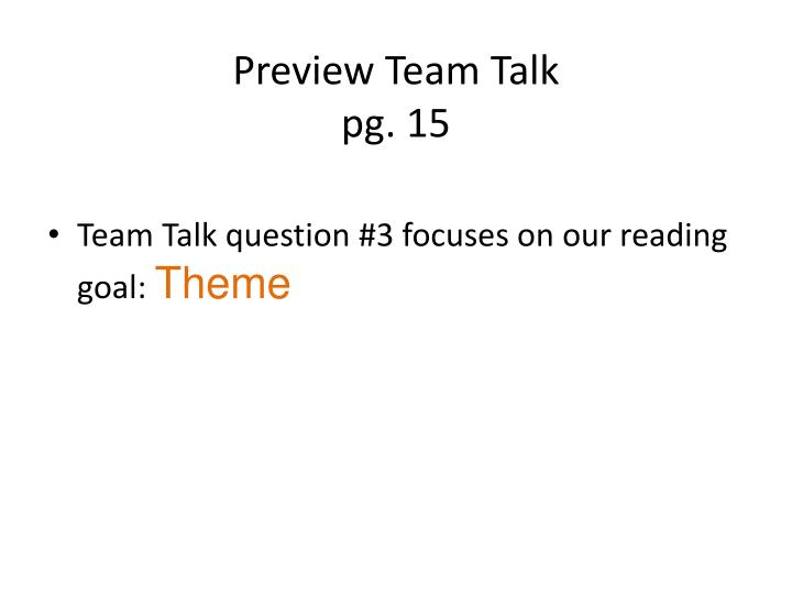 Preview Team Talk