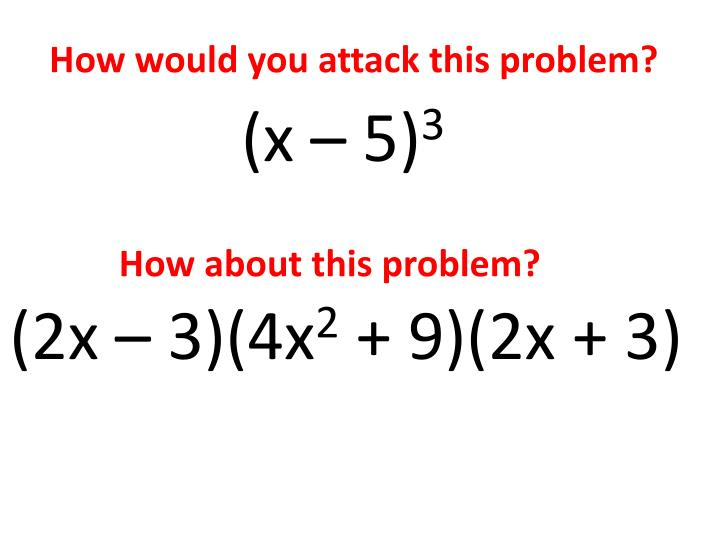 How would you attack this problem?
