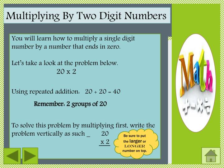 Multiplying By Two Digit Numbers
