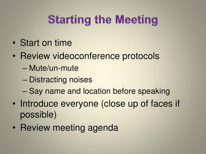 Starting the Meeting