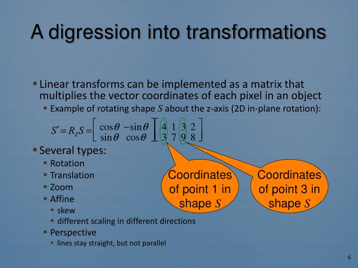 A digression into transformations
