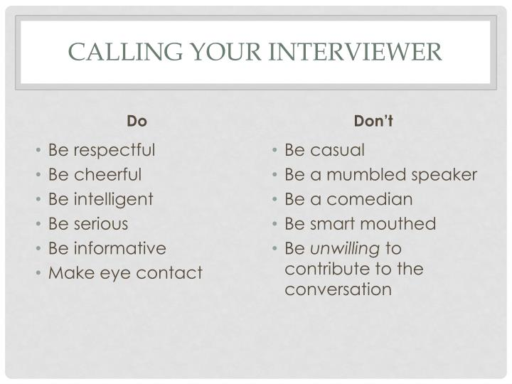 Calling your interviewer