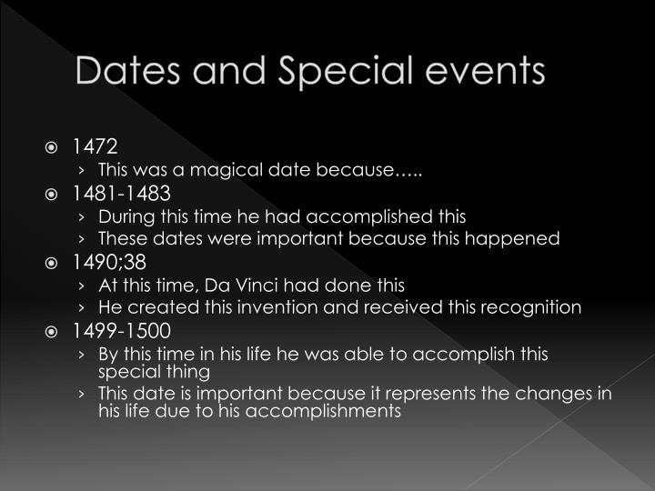 Dates and Special events