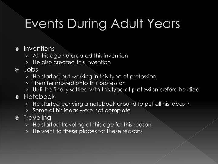 Events during adult years