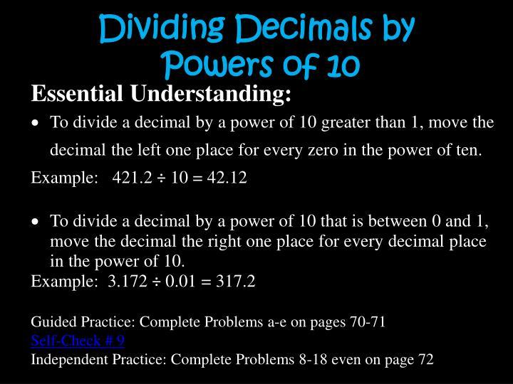 Dividing Decimals by