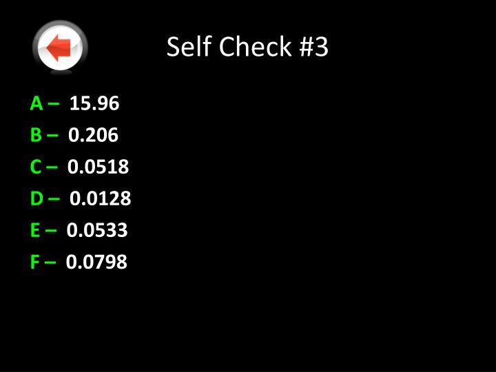Self Check #3