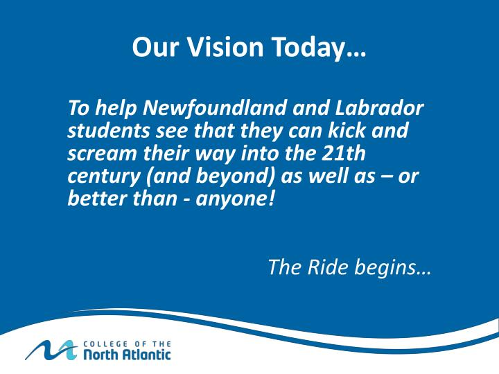 Our Vision Today…