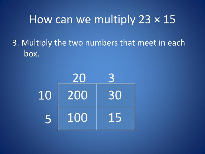 How can we multiply 23 × 15