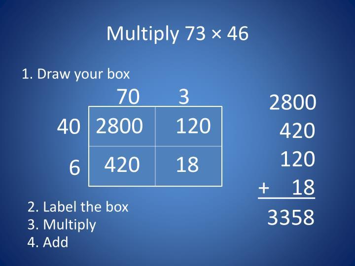 Multiply 73