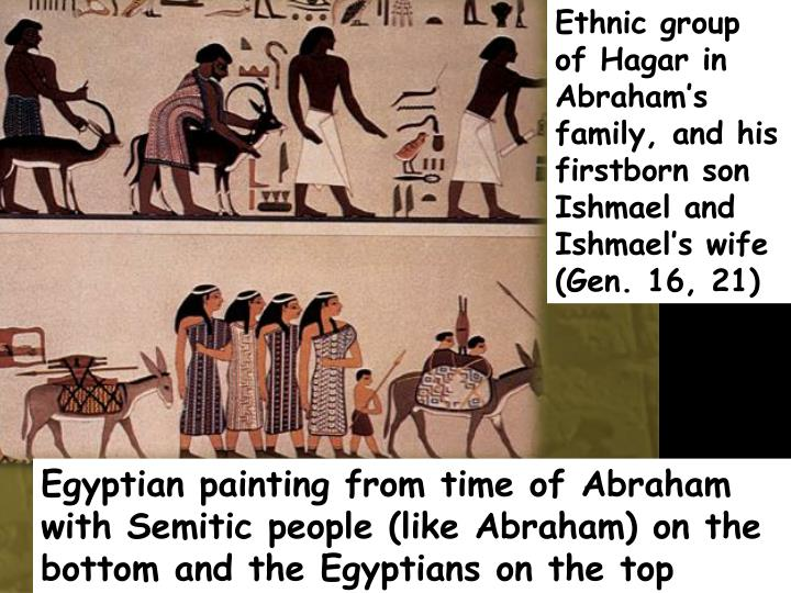 Ethnic group of Hagar in Abraham's family, and his firstborn son Ishmael and Ishmael's wife (Gen. 16, 21)