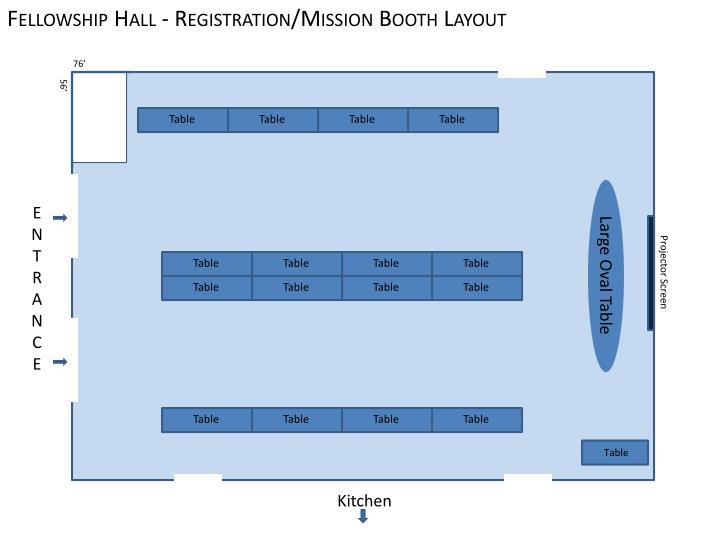 Fellowship Hall - Registration/Mission Booth Layout