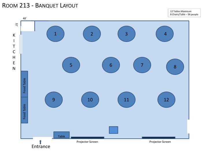 Room 213 - Banquet Layout