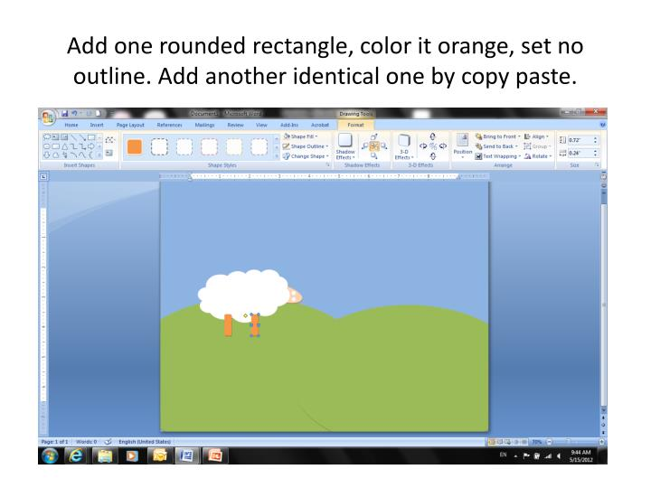 Add one rounded rectangle, color it orange, set no outline. Add another identical one by copy paste.