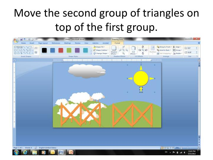 Move the second group of triangles on top of the first group.