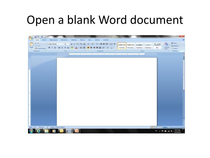 Open a blank word document