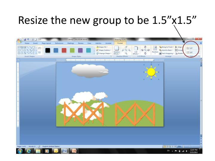"Resize the new group to be 1.5""x1.5"""