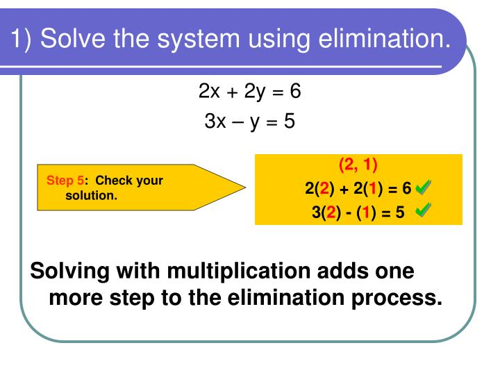1) Solve the system using elimination.