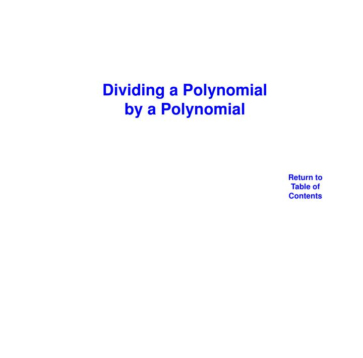 Dividing a Polynomial