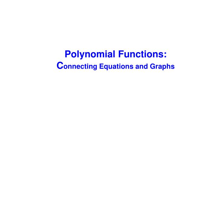 Polynomial Functions: