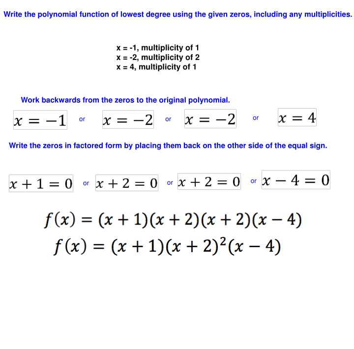 Write the polynomial function of lowest degree using the given zeros, including any multiplicities.