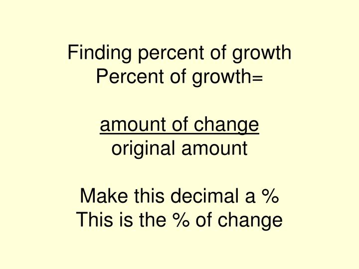 Finding percent of growth