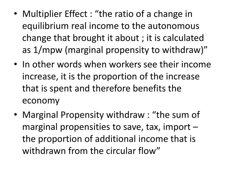 """Multiplier Effect : """"the ratio of a change in equilibrium real income to the autonomous change that brought it about ; it is calculated as 1/"""