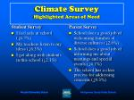 climate survey highlighted areas of need