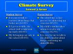 climate survey lowest 3 areas