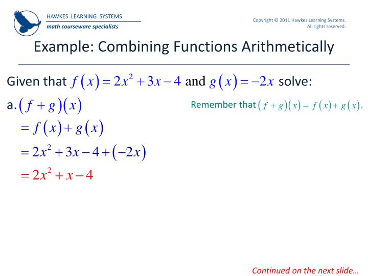 Example: Combining Functions Arithmetically