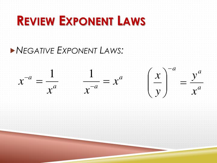 Review Exponent Laws