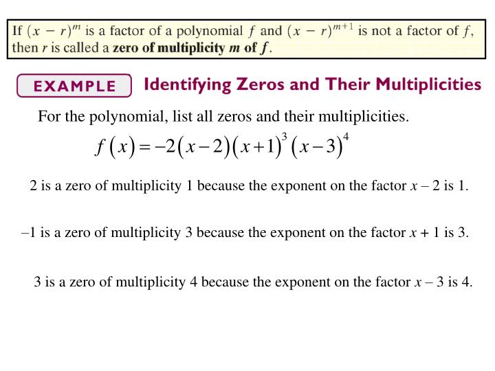 For the polynomial, list all zeros and their multiplicities.