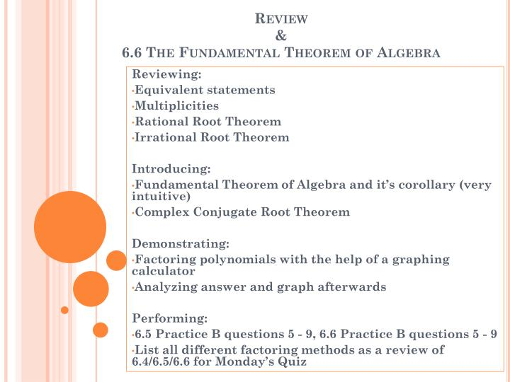Review 6 6 the fundamental theorem of algebra