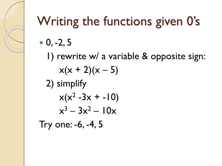 Writing the functions given 0's