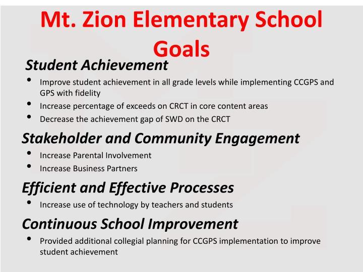 Mt. Zion Elementary School Goals