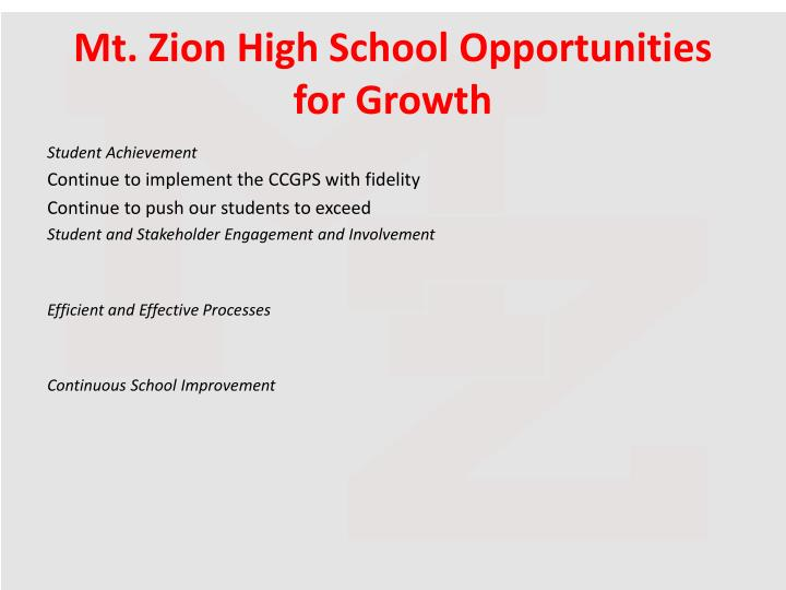Mt. Zion High School Opportunities for Growth