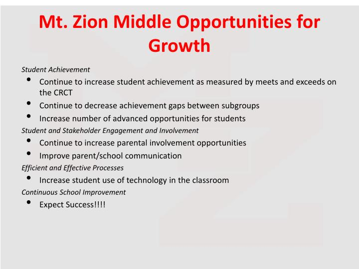 Mt. Zion Middle Opportunities for Growth