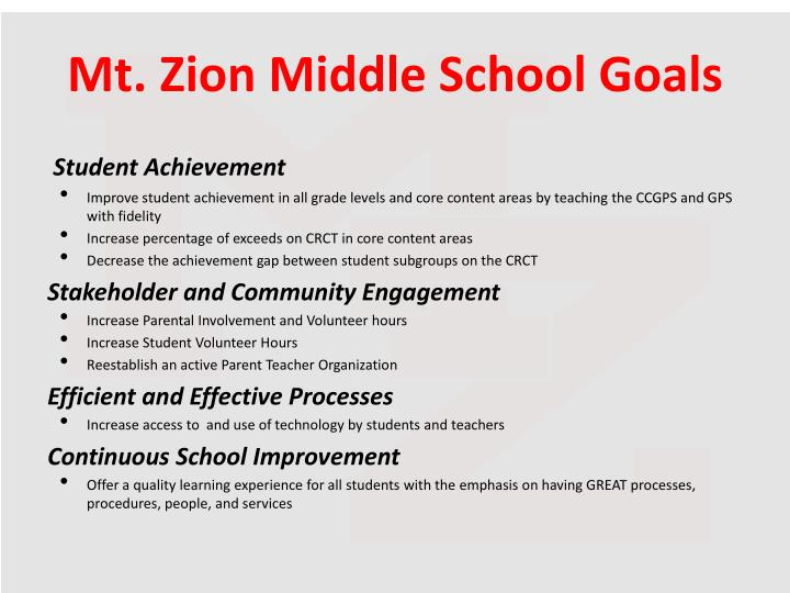 Mt. Zion Middle School Goals