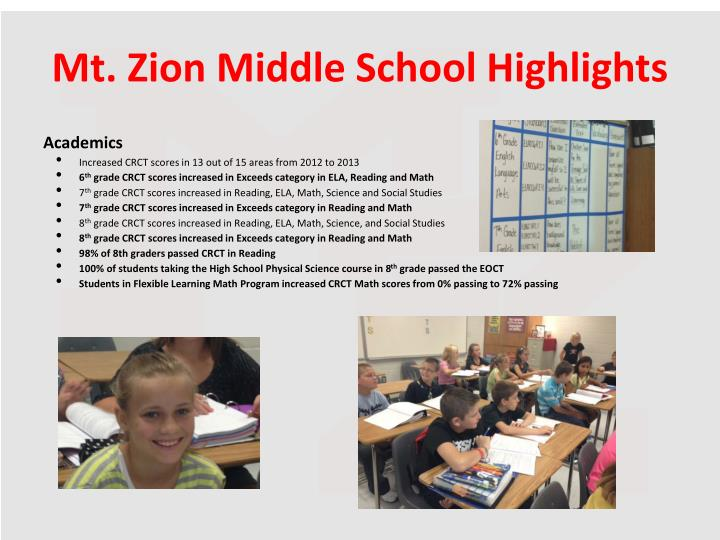 Mt. Zion Middle School Highlights