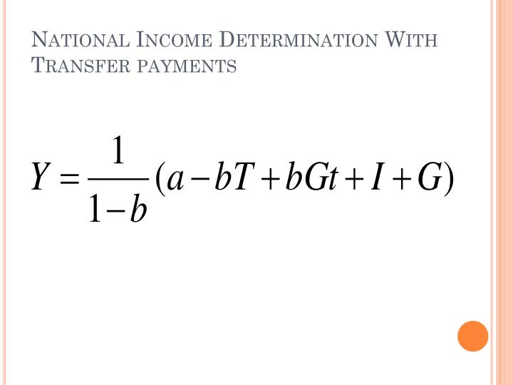 National Income Determination With Transfer payments