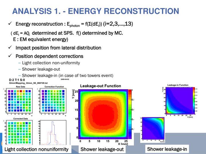 Analysis 1. - Energy reconstruction