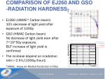 comparison of ej260 and gso radiation hardness
